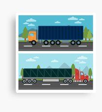 Cargo Transportation. Truck and Trailer. Delivery Trucks. Logistics Transportation. Mode of Transportation. Cargo Truck. Flat style Canvas Print