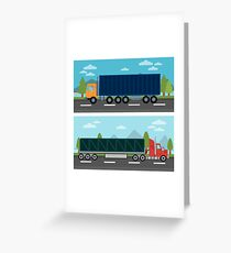 Cargo Transportation. Truck and Trailer. Delivery Trucks. Logistics Transportation. Mode of Transportation. Cargo Truck. Flat style Greeting Card