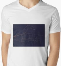 Architectural sketch blueprint of traditional wood house  Men's V-Neck T-Shirt