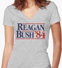 Reagan/Bush '84 Women's Fitted V-Neck T-Shirt
