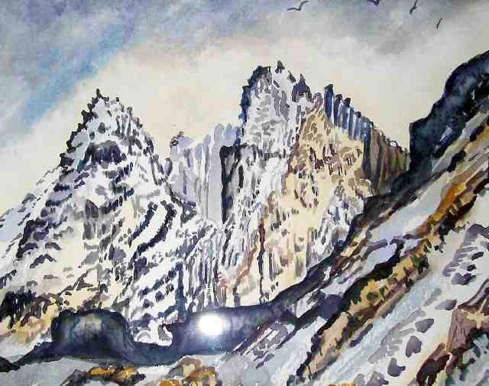 Scottish Mountain scene in winter landscape watercolour by coolart