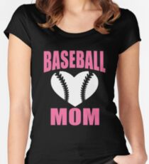 Baseball Mom T-Shirt Funny Novelty Cool Tee Women's Fitted Scoop T-Shirt
