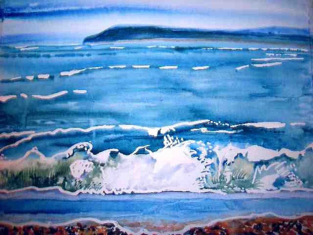 Surf waves watercolour painting contemporary style by coolart
