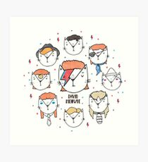 The 9 Lives of David Meowie Art Print