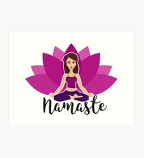 Pink lotus and Yoga girl in padmasana Art Print
