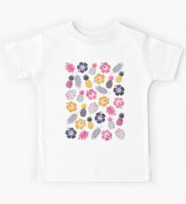 Forever Summer Tropical Pattern on White Kids Tee