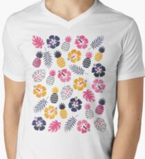 Forever Summer Tropical Pattern on White Men's V-Neck T-Shirt