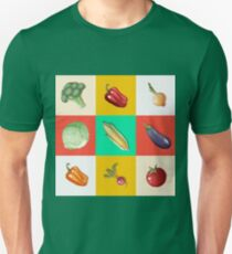 Vegetables Set. Vintage Style. Healthy Food. Broccoli, Peppers, Eggplant, Onions, Radish, Sprouts, Tomato, Corn. Hand Drawn T-Shirt
