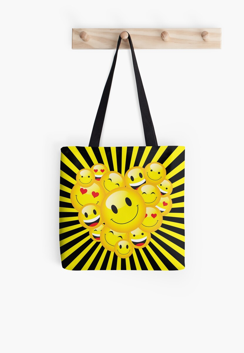 Yellow Smiley Face Emoticons Heart Rave Night Party Pattern Tote