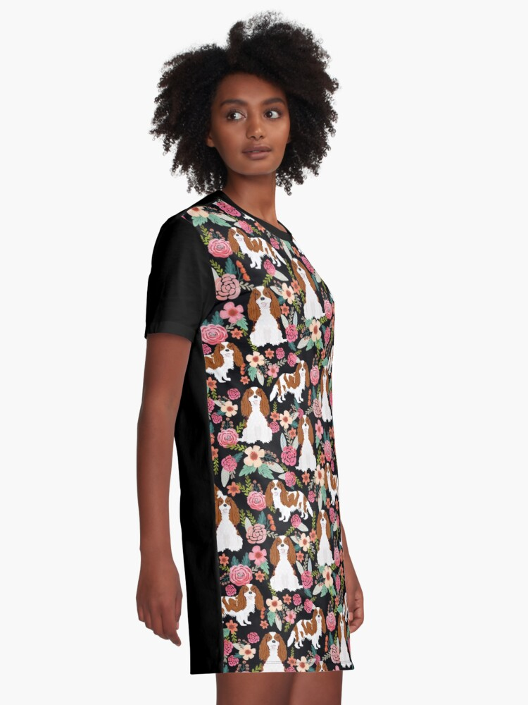 Alternate view of Blenheim cavalier king charles spaniel dog breed florals pattern gifts Graphic T-Shirt Dress