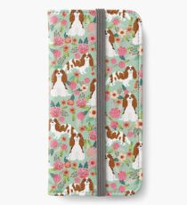 Blenheim cavalier king charles spaniel dog breed florals pattern gifts iPhone Wallet/Case/Skin