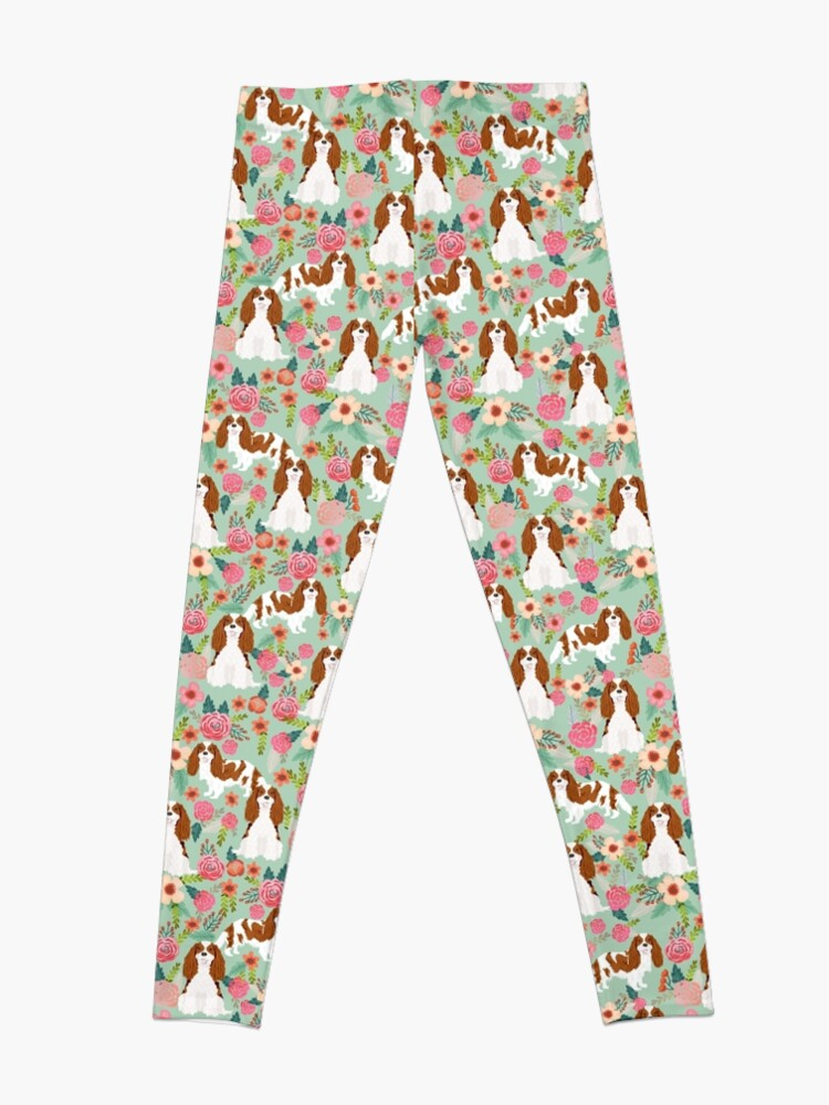 Alternate view of Blenheim cavalier king charles spaniel dog breed florals pattern gifts Leggings