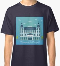 Vintage European City Hostel. Travel Industry Hotel Building Facade Classic T-Shirt