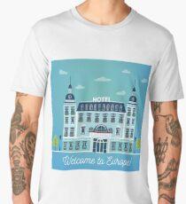 Vintage European City Hostel. Travel Industry Hotel Building Facade Men's Premium T-Shirt