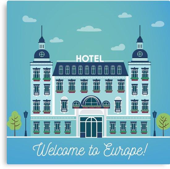 Vintage European City Hostel. Travel Industry Hotel Building Facade by ivector