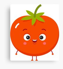 Red Tomato Cartoon Emoji Vegetable Canvas Print