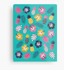 Forever Summer Tropical Pattern on Mint Green Metal Print