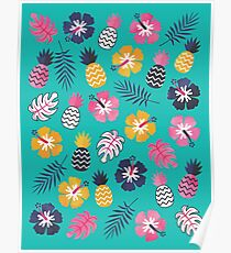 Forever Summer Tropical Pattern on Mint Green Poster