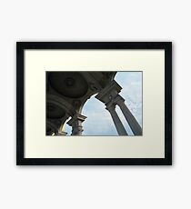 Classical columns holding dome ceiling and cloudy sky  Framed Print