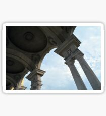 Classical columns holding dome ceiling and cloudy sky  Sticker