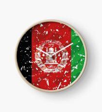Afghanistan grunge vintage flag Clock