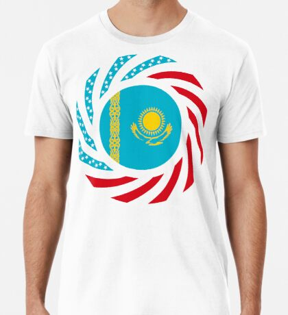 Kazakhstani American Multinational Patriot Flag Series Premium T-Shirt