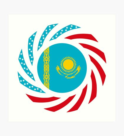 Kazakhstani American Multinational Patriot Flag Series Art Print