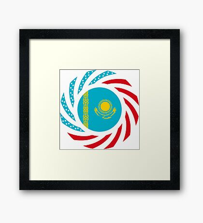Kazakhstani American Multinational Patriot Flag Series Framed Print