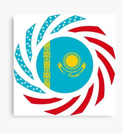Kazakhstani American Multinational Patriot Flag Series Canvas Print