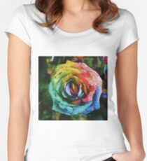 Rainbow Rose painting Women's Fitted Scoop T-Shirt
