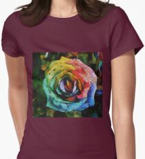 Rainbow Rose painting Womens Fitted T-Shirt
