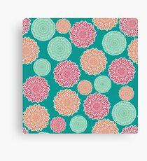 Retro colors inspired flowers - mandalas  Canvas Print