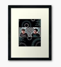 Blue and White and Black Framed Print