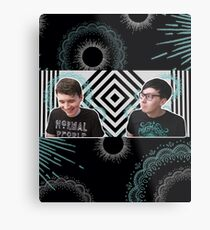 Blue and White and Black Metal Print