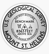 MOUNT SAINT HELENS BENCHMARK WASHINGTON USGS VOLCANO ST GEOCACHING CASCADES Sticker