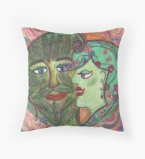 The Green Man and the Lady of Blossoms. Throw Pillow