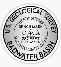 BADWATER BASIN DEATH VALLEY NATIONAL PARK GEOCACHING USGS CALIFORNIA BENCHMARK BENCH MARK Sticker