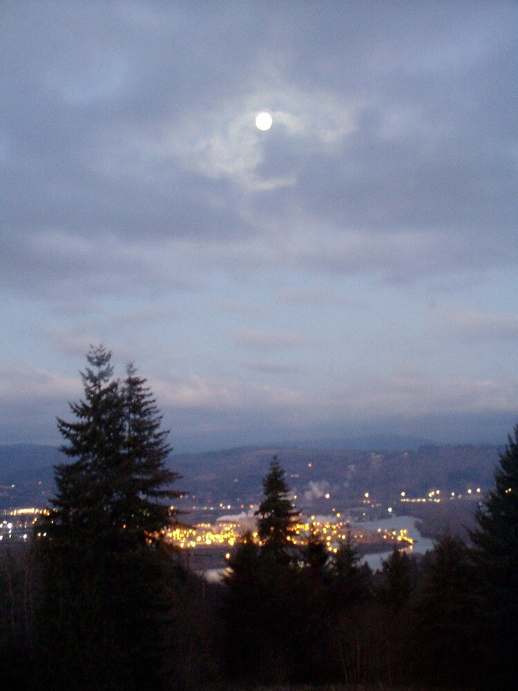 Misty Moon Over the Columbia River by Dawna Morton
