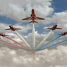 Red Arrows smoke on by Gary Eason