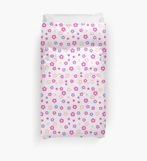 Romantic Pastel Flowers Pattern With Very Light Pink Background Duvet Cover