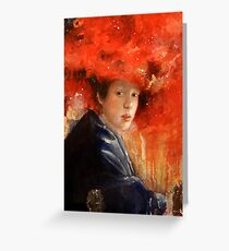 Girl with a Red Galaxy Hat Greeting Card