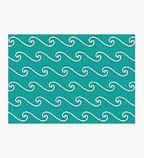 Wellenmuster | Blaugrün und Weiß Fotodruck