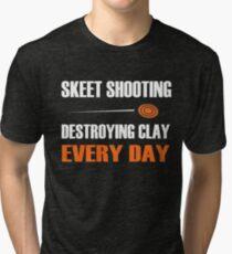 Fun Skeet Shooting Shirt | Destroying Clay Tri-blend T-Shirt
