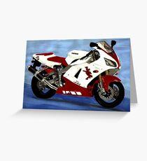 motorbike yamaha YZF R1 painting red white Greeting Card