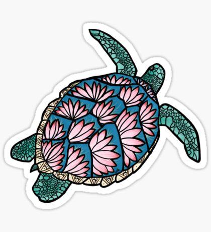 flor de loto tortuga de mar Pegatina