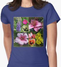 Lupin, Lilies, Geraniums and Pansies Collage T-Shirt
