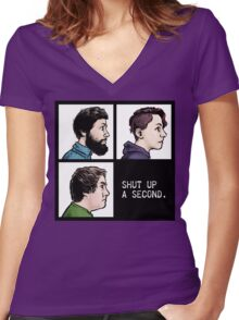 Shut Up a Second 2015 Logo Women's Fitted V-Neck T-Shirt