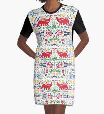 Dinosaur Swedish Folk Art Graphic T-Shirt Dress
