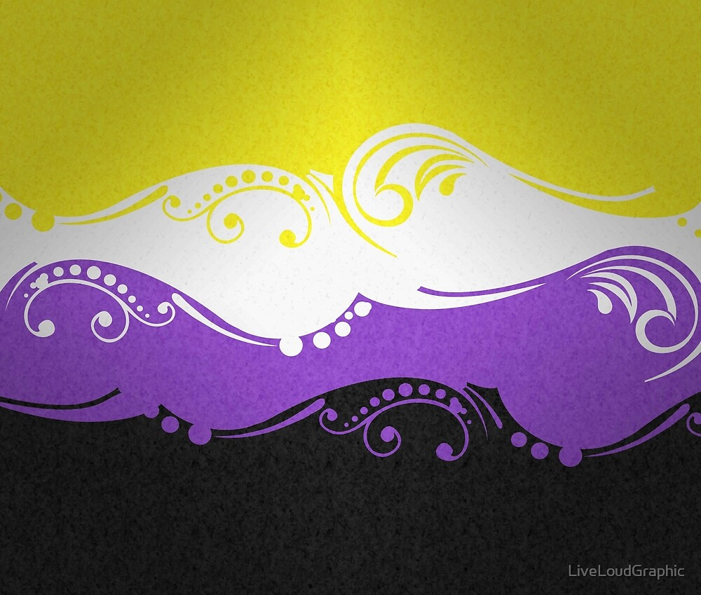 Non-Binary Ornamental Flag by LiveLoudGraphic