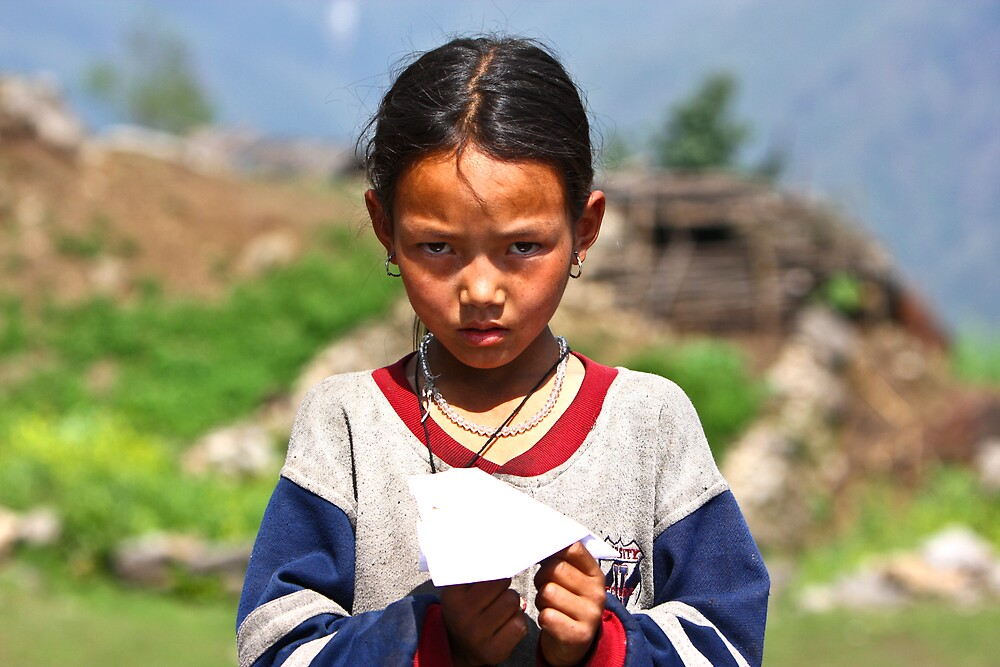 Girl with Plane in Nepal by Paul Golz